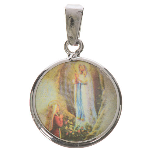 Medaglia tonda arg. 18 mm Lourdes 1