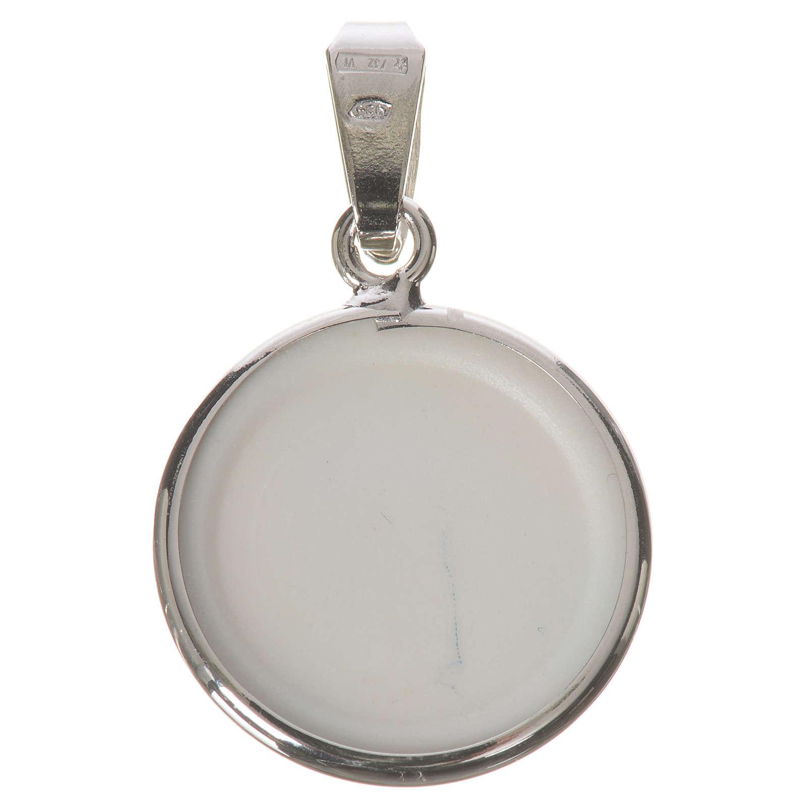 Medalla redonda de plata, 18mm Virgen de la Ternura 4