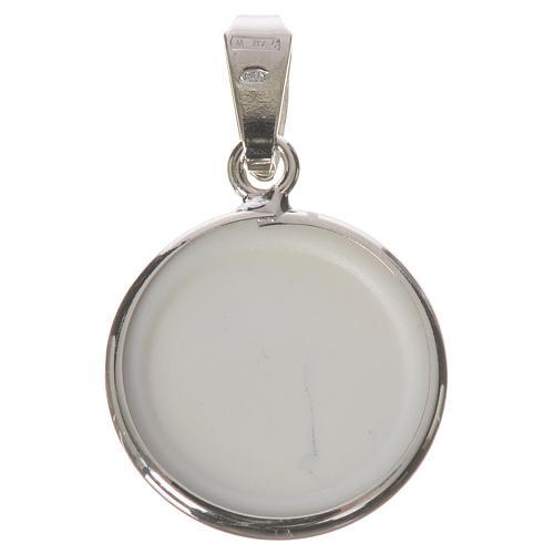 Medalla redonda de plata, 18mm Virgen de la Ternura 2