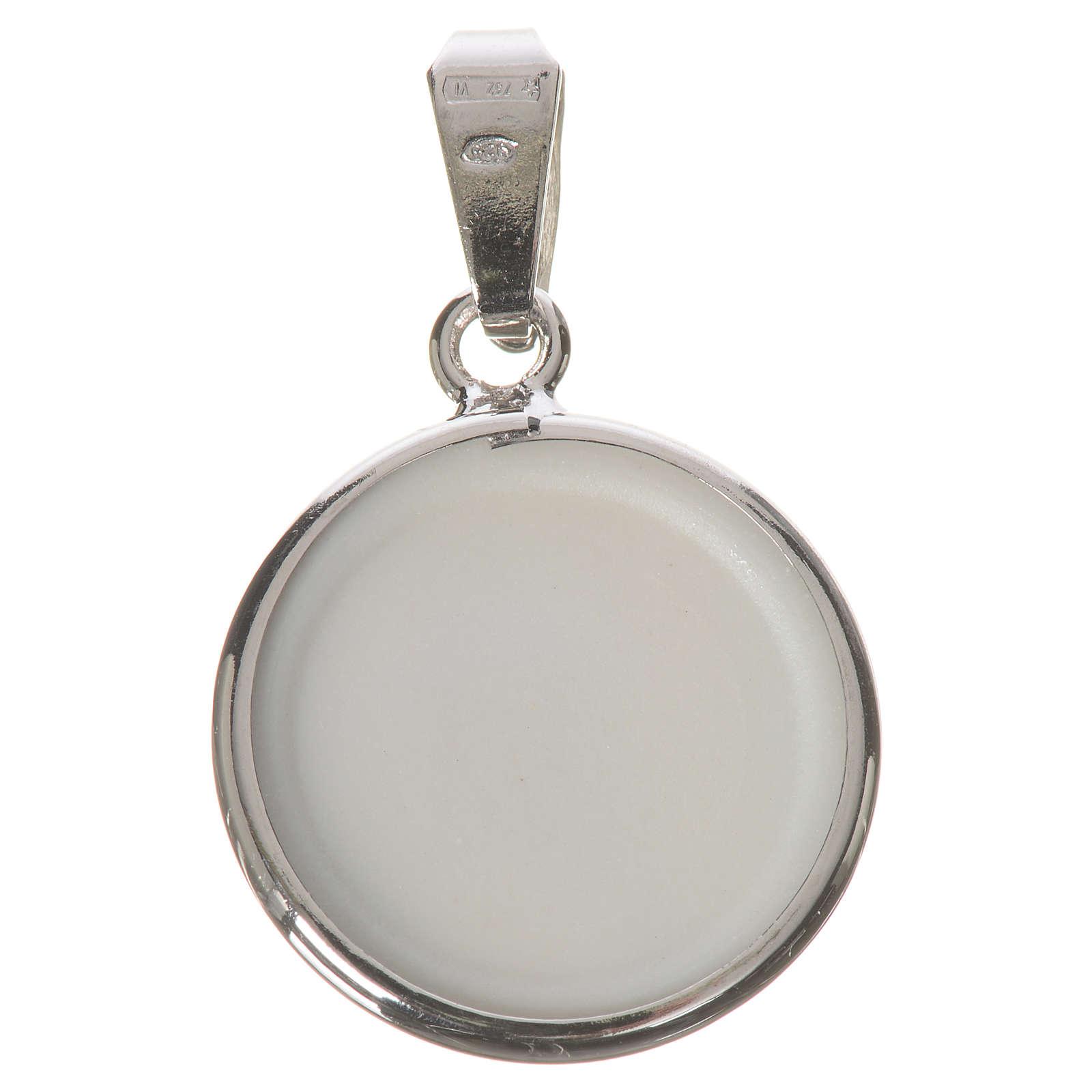 Medalha redonda prata 18 mm Medjugorje 4