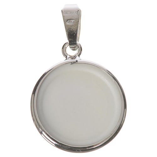 Medalha redonda prata 18 mm Medjugorje 2