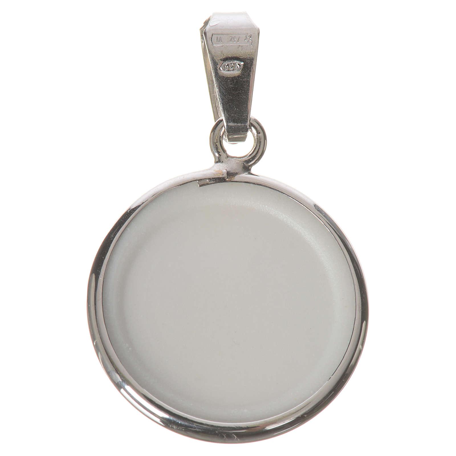 Medalla redonda de plata, 18mm Jesús Misericordioso 4