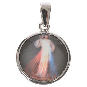 Medalla redonda de plata, 18mm Jesús Misericordioso s1