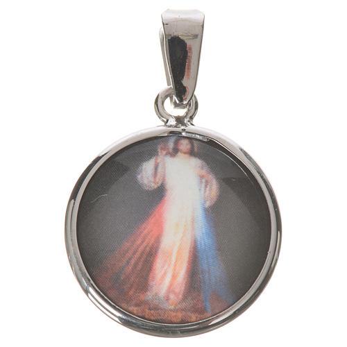Médaille ronde argent 18mm Christ Miséricordieux 1