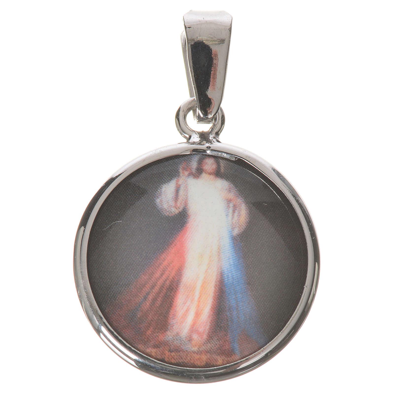 Medaglia tonda arg. 18 mm Gesù Misericordioso 4