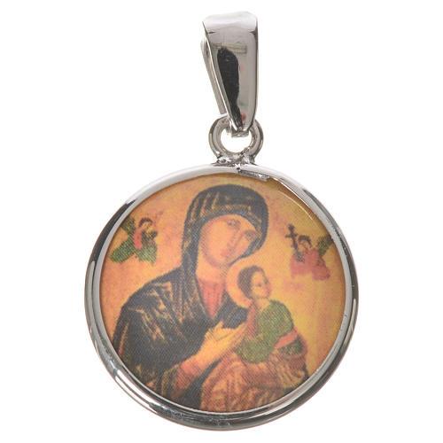 Medaglia tonda arg. 18 mm Madonna Perpetuo Soccorso 1