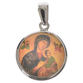 Round medal in silver, 18mm Our Lady of Perpetual help s1