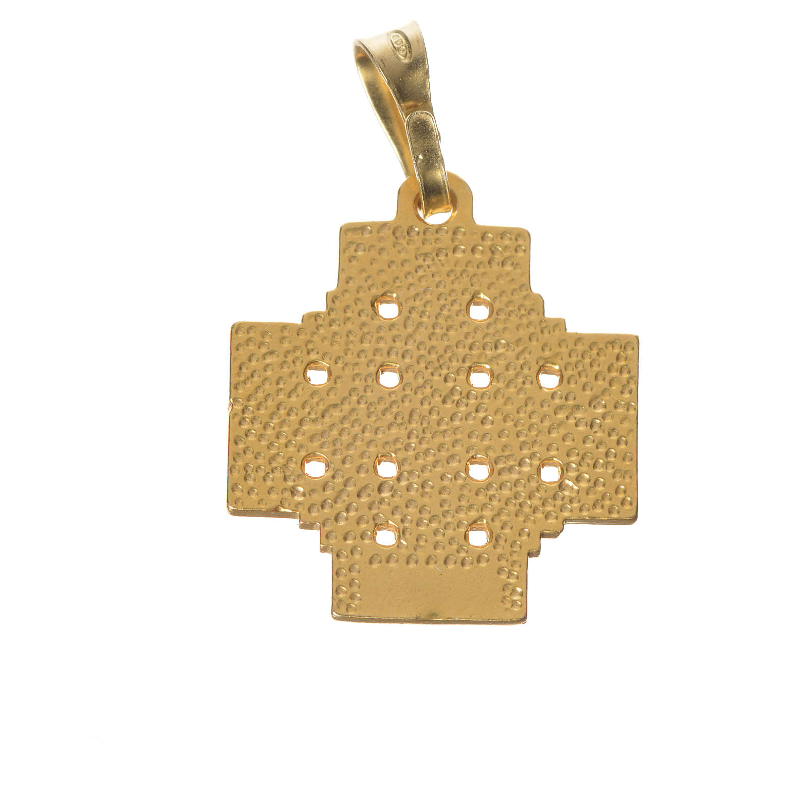 Pendentif croix Jérusalem argent 925 émail 4