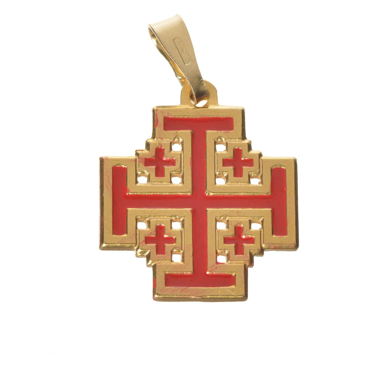 Pendente croce Jerusalem argento 925 smalto 4