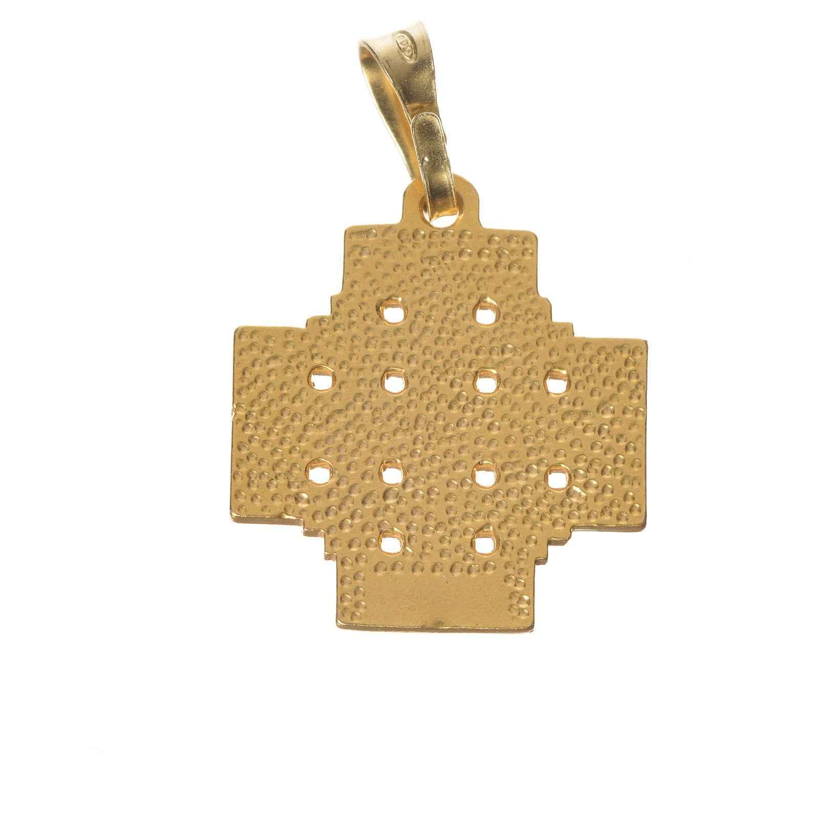 Pingente cruz Jerusalém prata 925 esmalte 4