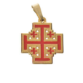 Pingente cruz Jerusalém prata 925 esmalte s1