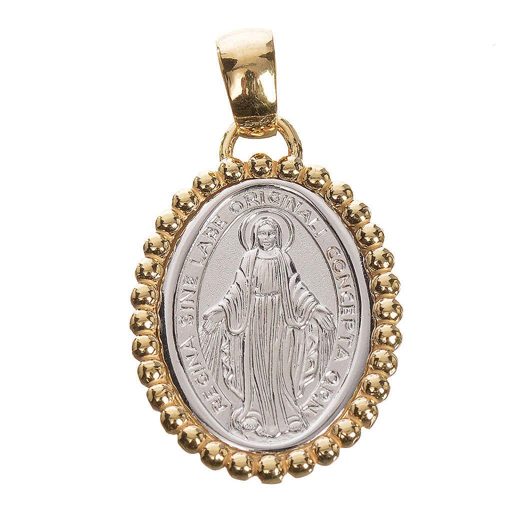 Medaglia Miracolosa oro 750/00 bianco bordo giallo - gr. 2,69 4