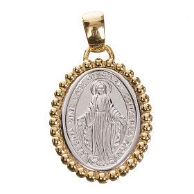 Medaglia Miracolosa oro 750/00 bianco bordo giallo - gr. 2,69 s1