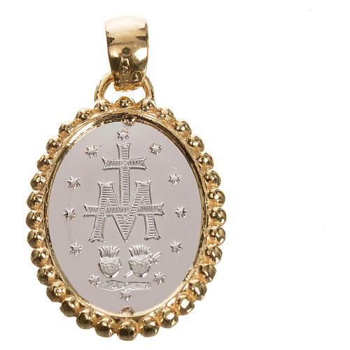 Medaglia Miracolosa oro 750/00 bianco bordo giallo - gr. 2,69 2