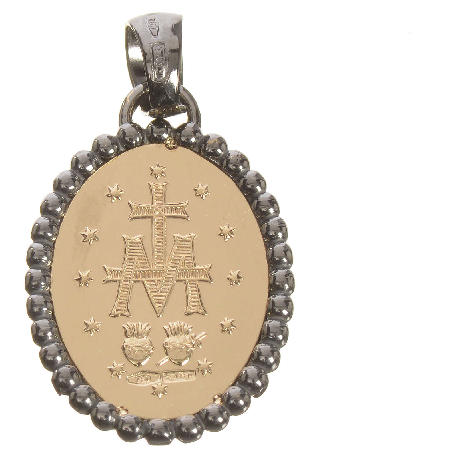 Miraculous medal in 750 gold with dark outline 2.74gr 4