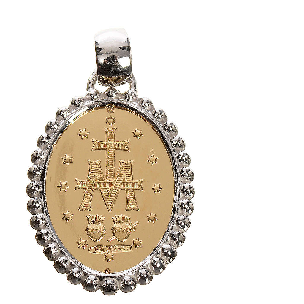 Miraculous medal in 750 gold with white outline 2.67gr 4