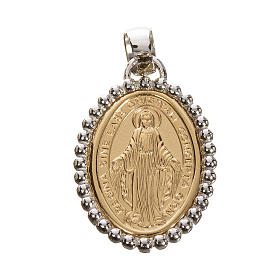 Miraculous medal in 750 gold with white outline 2.67gr s1