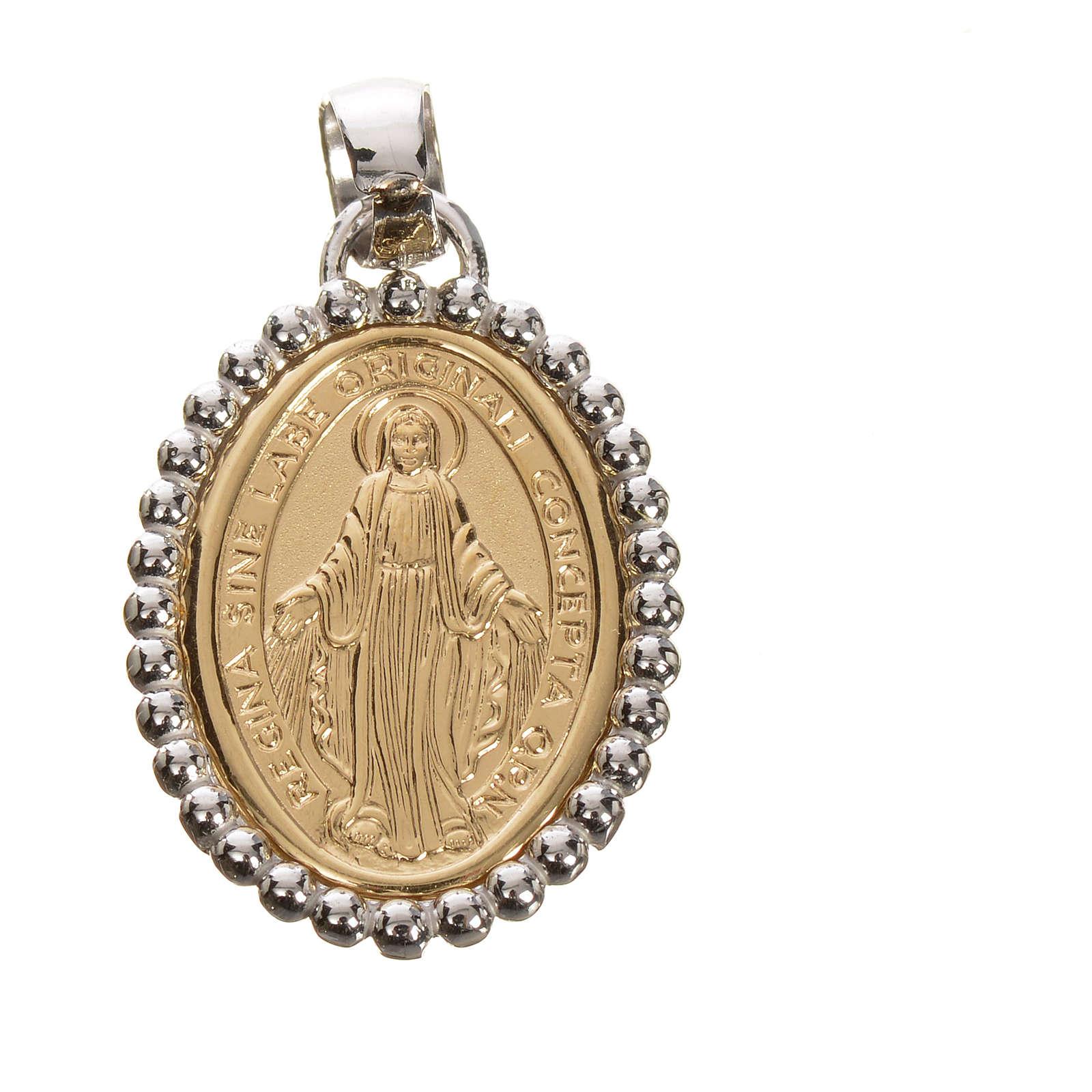 Medaglia Miracolosa oro 750/00 bordo bianco - gr. 2,67 4
