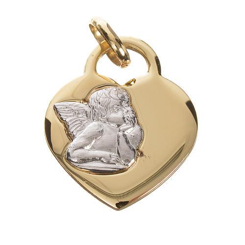 Cuore con angelo oro 750/00 giallo - gr. 2,07 1
