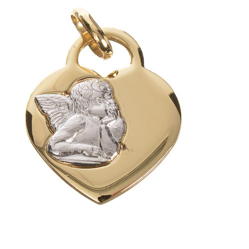 Heart pendant with angel in 750 yellow gold 2.07gr 3