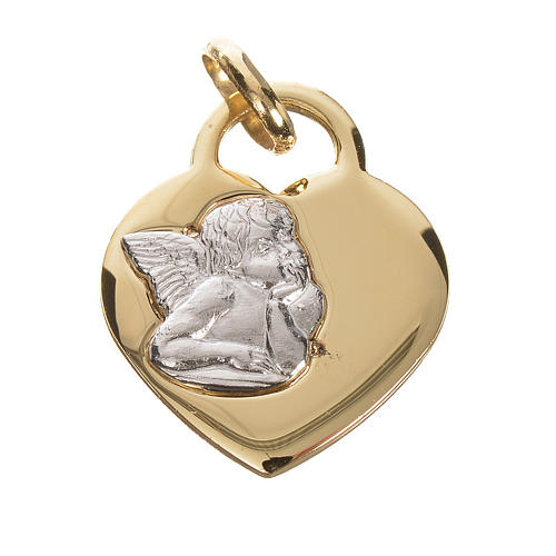 Heart pendant with angel in 750 yellow gold 2.07gr 1