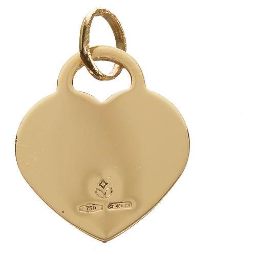 Heart pendant with angel in 750 yellow gold 2.07gr 2