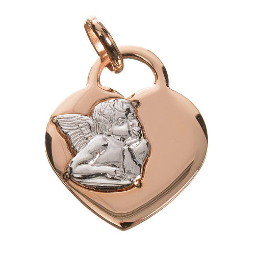 Cuore con angelo oro 750/00 rosso - gr. 2,02 1