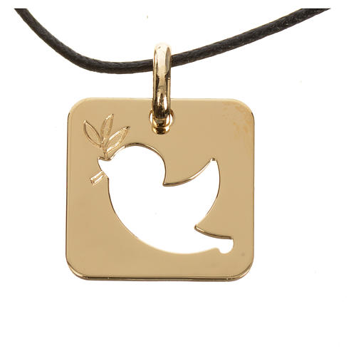 Pendant with peace dove in perforated 750 yellow gold 2.27gr 1