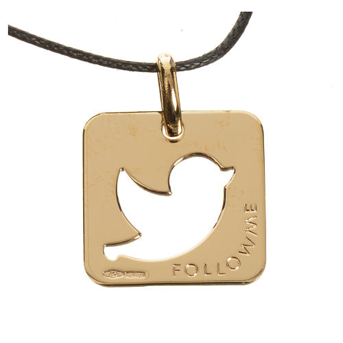 Pendant with peace dove in perforated 750 yellow gold 2.27gr 2