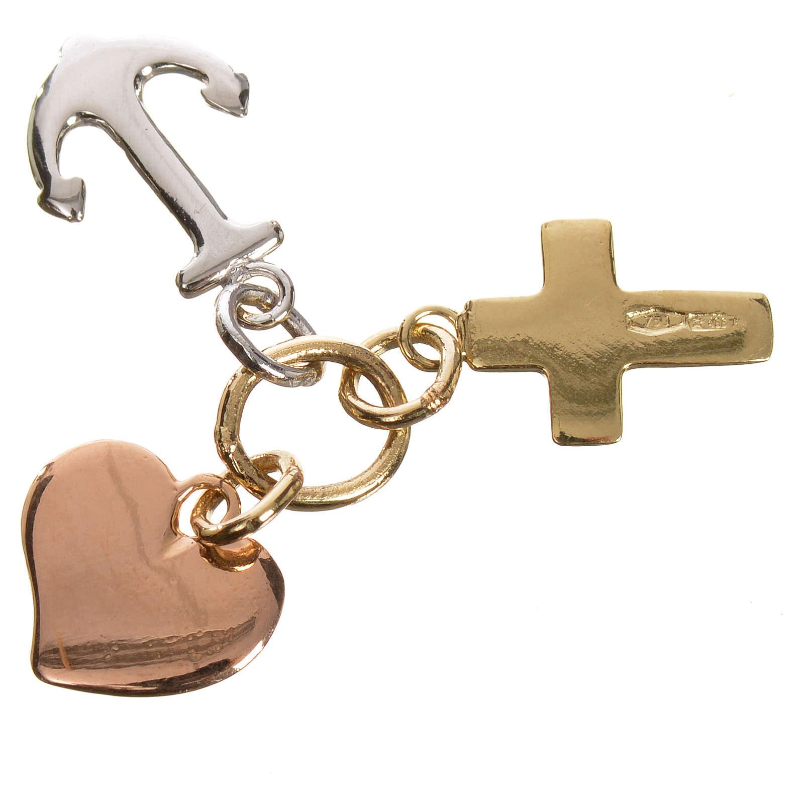 Colgante Fe, Esperanza y Caridad. Oro 750/00 - gr. 1,35 4