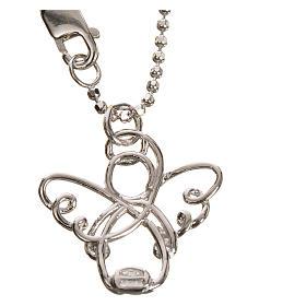 Pendenti, croci, spille, catenelle: Angelo stilizzato oro 750/00 bianco - gr. 3,63