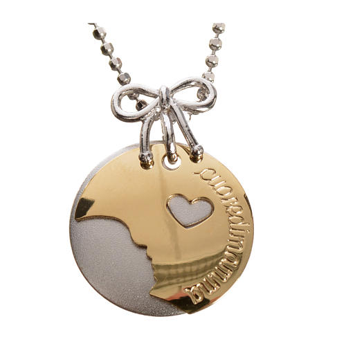 Medaglia Cuore di Mamma oro 750/00 bianco giallo - gr. 4,98 1