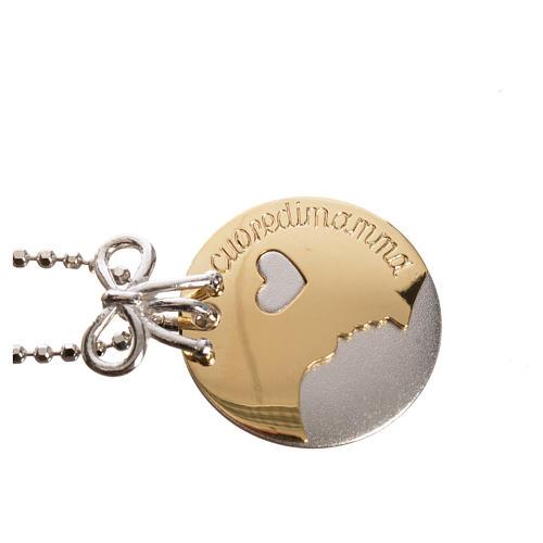 Medaglia Cuore di Mamma oro 750/00 bianco giallo - gr. 4,98 2