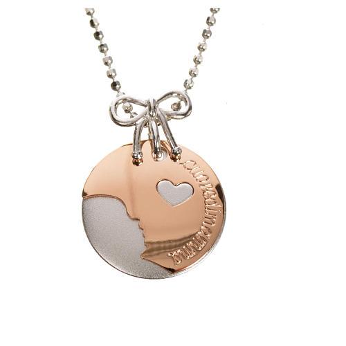 Medalla Corazón de Mamá de Oro 750/00 Blanco y Rojo - gr 4,92 6
