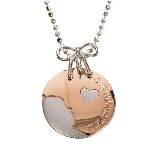 Medaglia Cuore di Mamma oro 750/00 bianco rosso - gr. 4,92 1