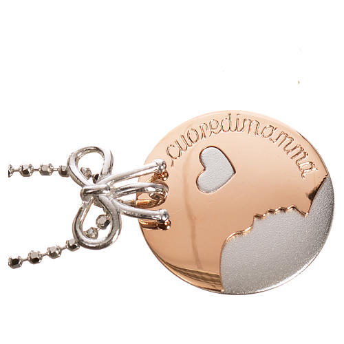 Medaglia Cuore di Mamma oro 750/00 bianco rosso - gr. 4,92 2