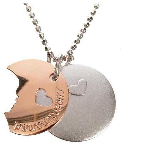 Medaglia Cuore di Mamma oro 750/00 bianco rosso - gr. 4,92 3