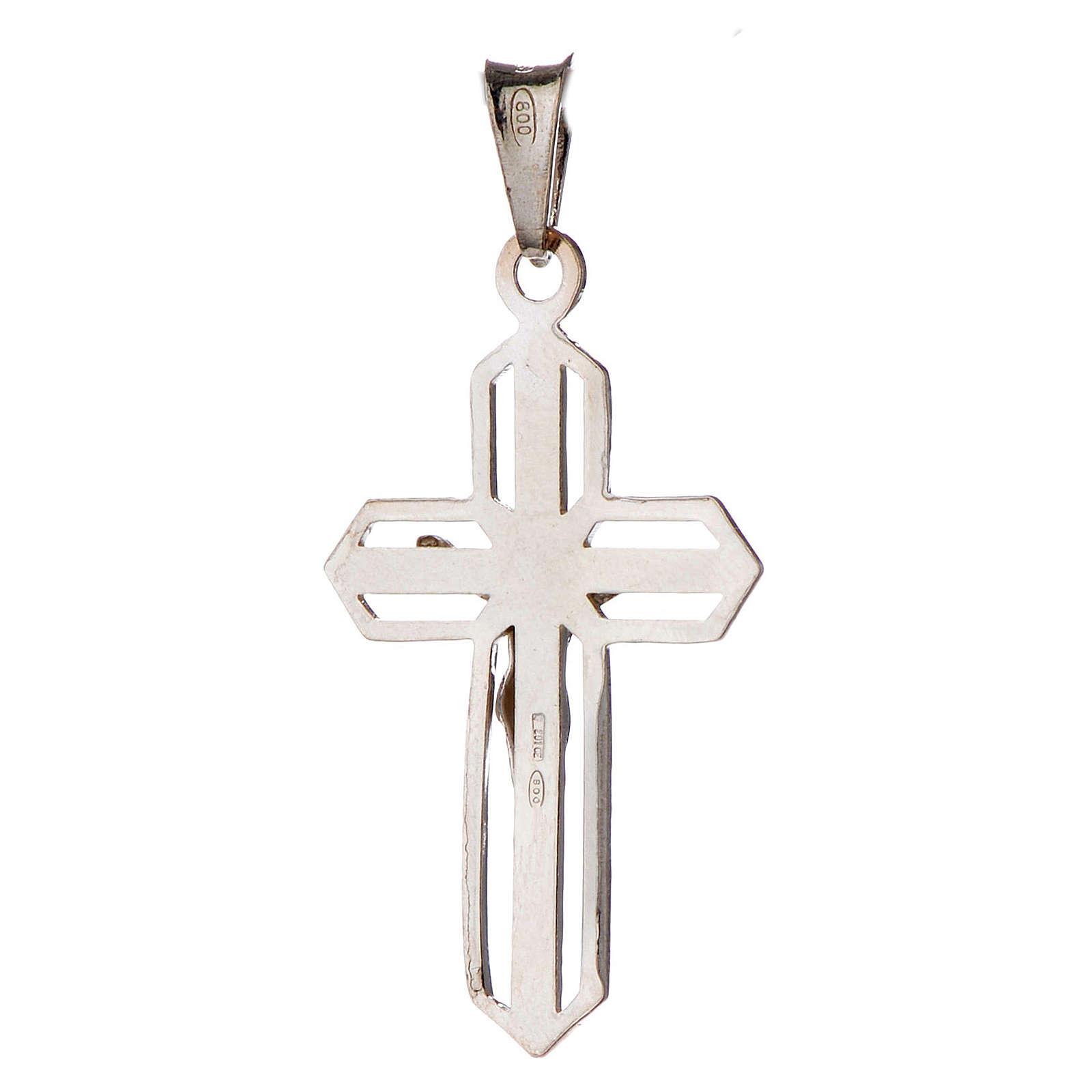 Pendentif crucifix argenté argent 800 4