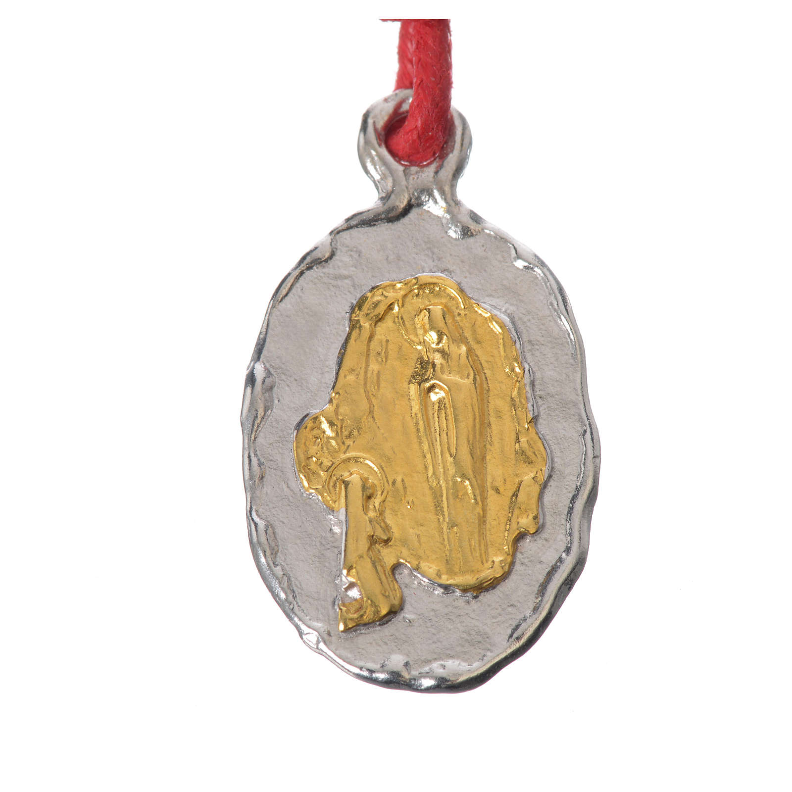 Medaglia bicolore  Argento Lourdes corda rossa 4