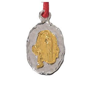 Medaglia bicolore  Argento Lourdes corda rossa s1