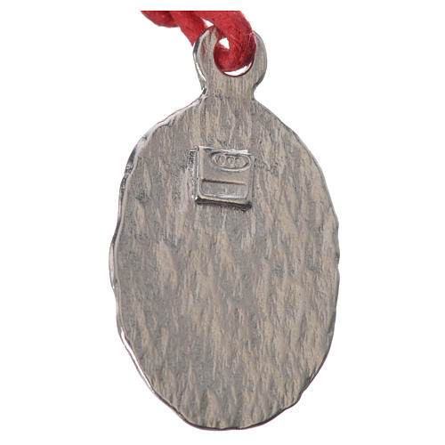 Medaglia bicolore  Argento Lourdes corda rossa 2