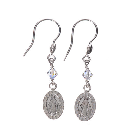 Earrings in 925 silver with Miraculous Medal image 1