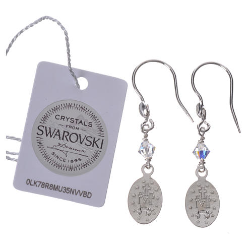 Earrings in 925 silver with Miraculous Medal image 2