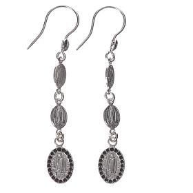 Earrings in 925 silver and black Swarowski, Lourdes s1
