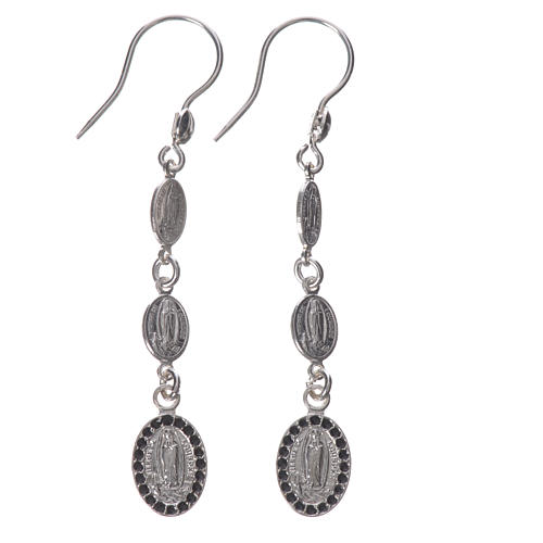 Earrings in 925 silver and black Swarowski, Lourdes 1