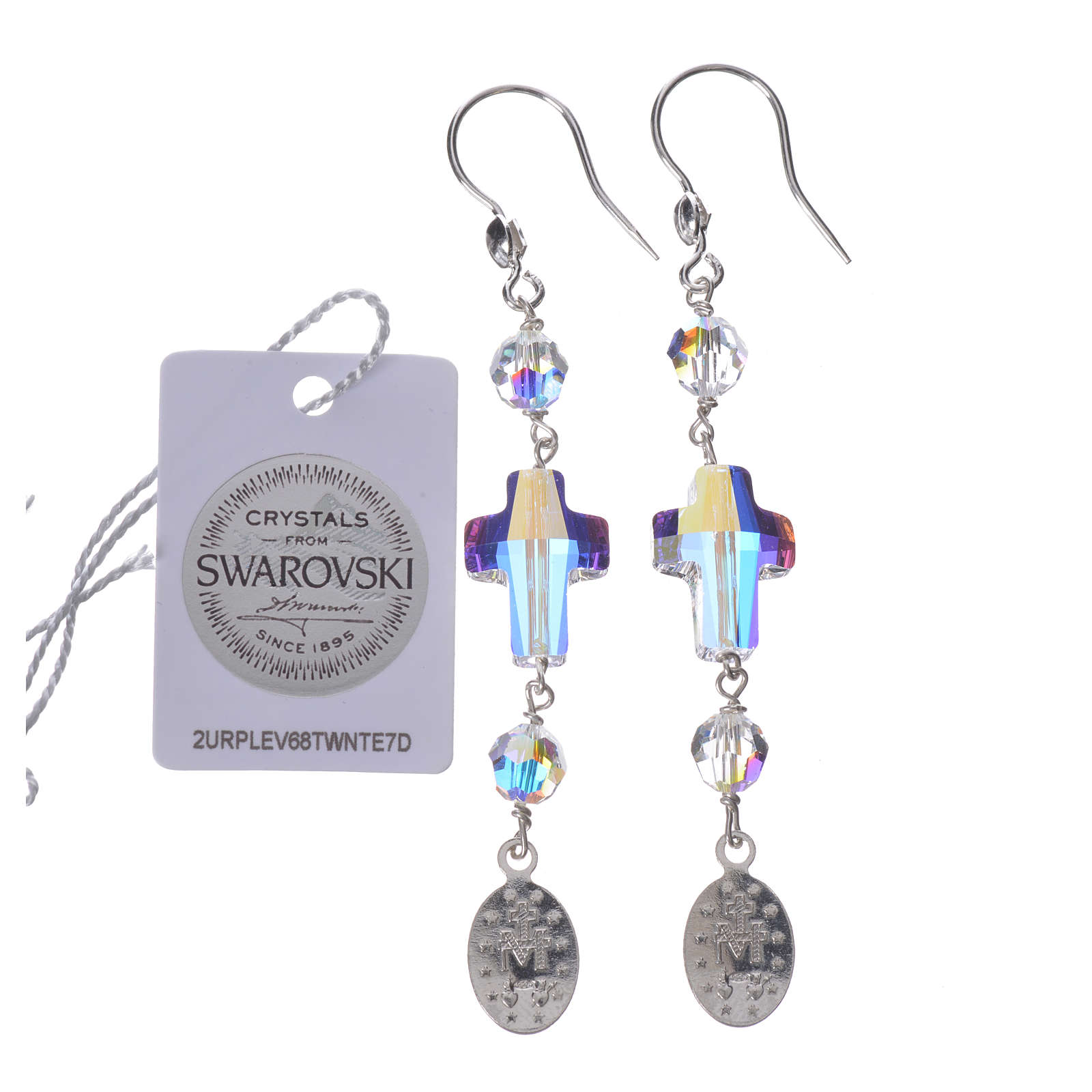 Earrings in 925 silver with Miraculous Medal image, white 4