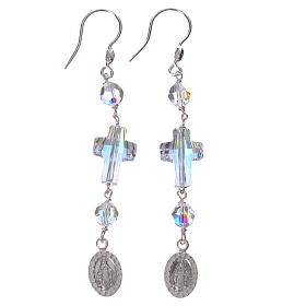 Earrings in 925 silver with Miraculous Medal image, white s1