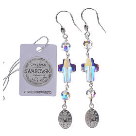 Earrings in 925 silver with Miraculous Medal image, white s2