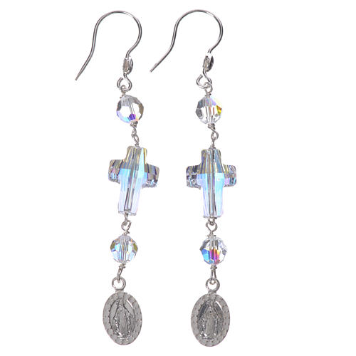 Earrings in 925 silver with Miraculous Medal image, white 1