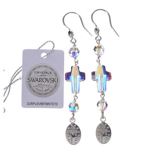 Earrings in 925 silver with Miraculous Medal image, white 2
